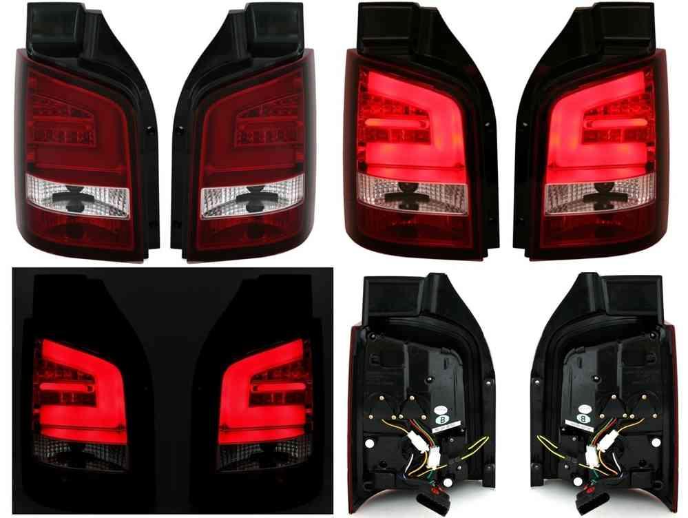 VW Transporter T5 Red/clear led-design rear lights